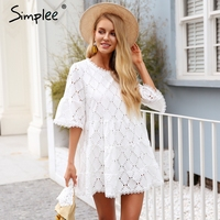 Simplee Flare Sleeve Cotton White Lace Dress Women Hollow Out Loose Casual Dress 2018 Summer High