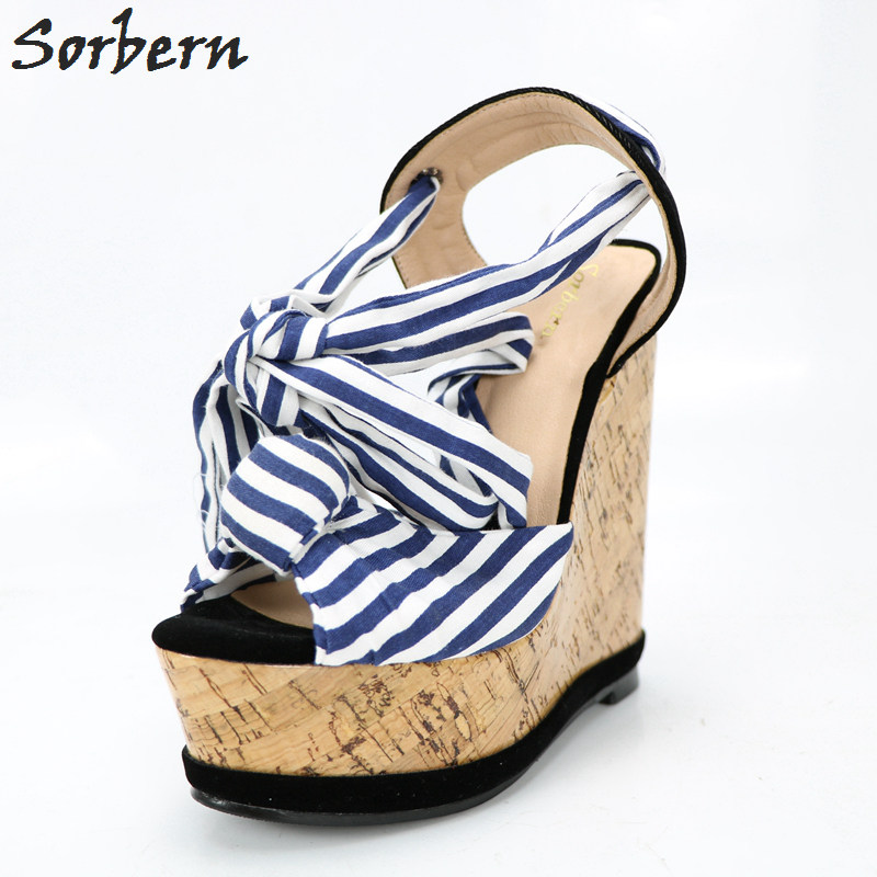 Sorbern Blue And White Strips Women Sandals Wedge High Heels Sandals Shoes Ladies Comfortable Platform Heels Chinese Size 34-47 shofoo shoes 2017 new free shipping white spots and black cloth 13 5 cm wedge sandals women s sandals size 34 45