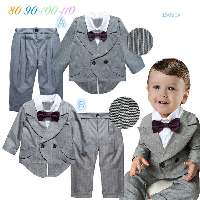 newborn infant toddler long sleeve false two suits casual pants birthday party clothing set wedding suit baby boy clothes