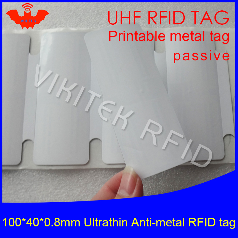 UHF RFID Ultrathin anti-metal tag 915m 868m M4QT 100*40*0.8mm EPC ISO18000-6C fixed assets printable PET passive RFID PET Label prorab epc 4