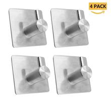 4Pcs Stainless Steel 3M Self Adhesive Hooks, Sticky Wall Door Hook Robe Tea Towel Rustproof Rack, Clothes Coat Hanger