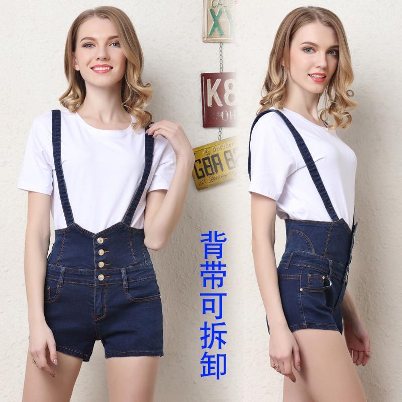 21a6d7574d59 2018 Summer new arrival European big size high waist denim straps shorts  woman detachable shoulder strap short Jeans 350