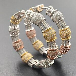 Image 2 - Lanyika תכשיטים יוקרה מוגזם קלאסי גדול כבד אוזן לולאות מיקרו מצופה עגילי חתונה כלה יומית הטוב ביותר מתנה