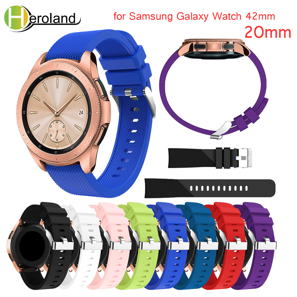 silicone band for Samsung Galaxy Watch 42mm watches strap Replacement 20mm Bracelet smart wristband for Samsung Galaxy Watch new аксессуар ремешок samsung galaxy watch 42mm silicone silver et ysu81msegru