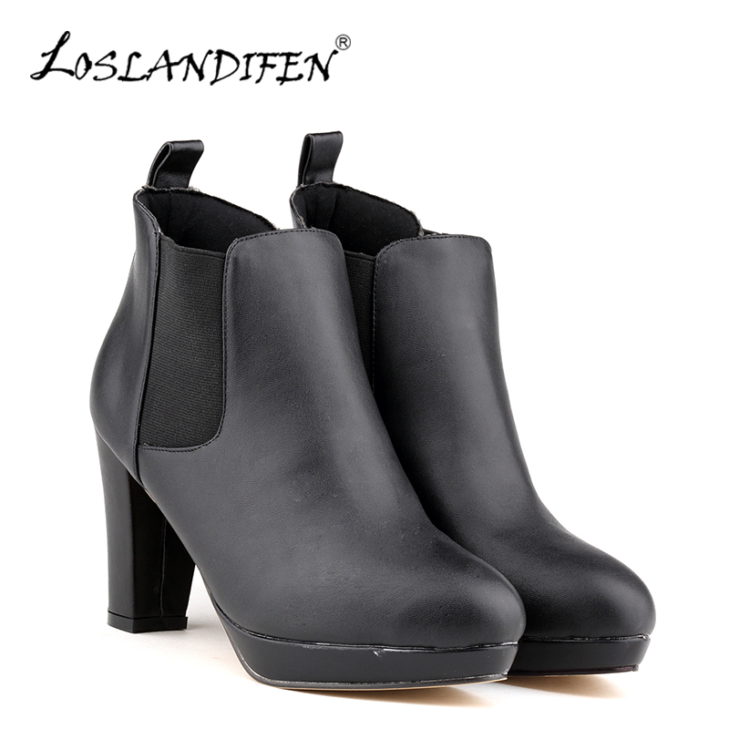 LOSLANDIFEN New Women Winter Boots Ladies Mid High Heel Block Platform Ankle Boots For Women Round Toe Boots Shoes 812-1MA new arrival 34 40 2016 winter ankle boots for women med heels round toe platform solid casual ladies unique boots