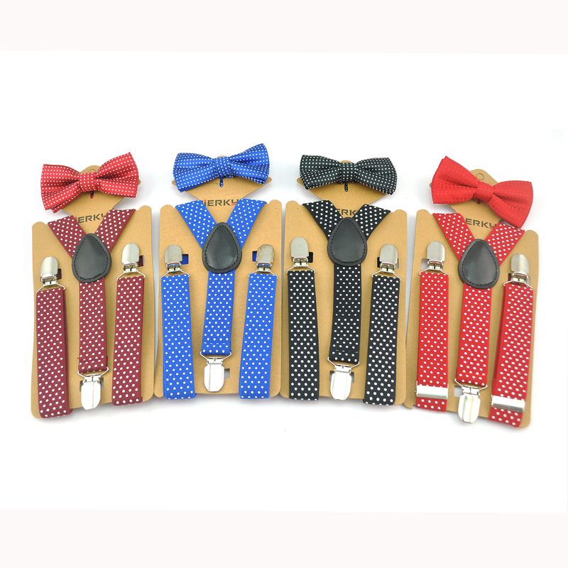 Suspender And Bow Tie Set 2020 New Kids Children Unisex 8 Polka Dot Colors Mix Y-Shape Dot Pattern Sets Party Casual Bowtie Set