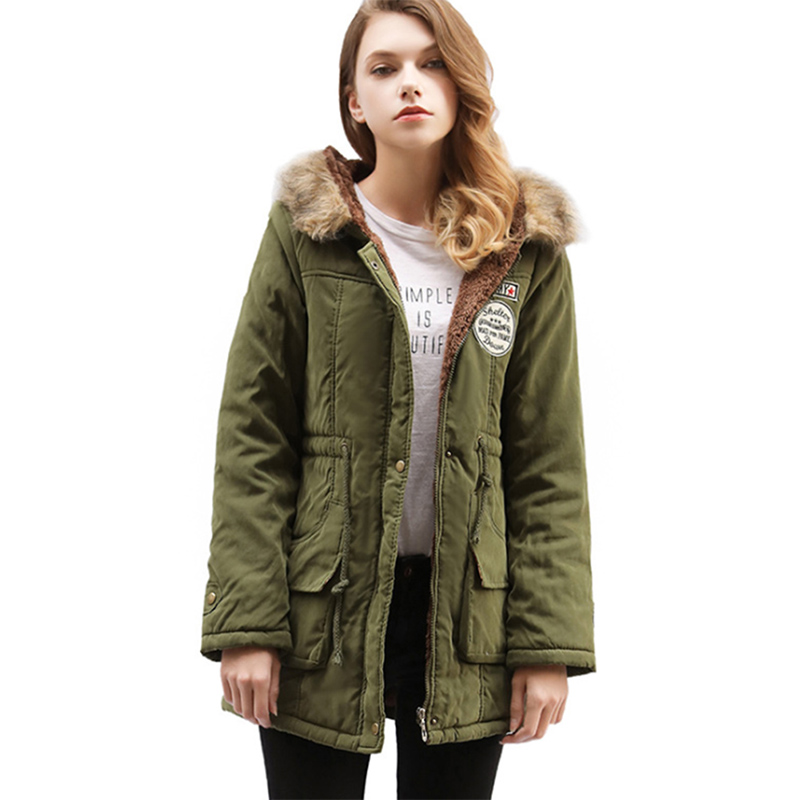 Casual Thick Cotton Hooded Women's Winter Coat 2018 Fashion Flannel Woman Denim Parkas Adjustable Waist Windbreaker With Hat