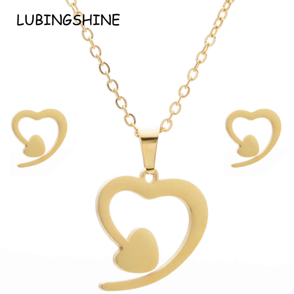 LUBINGSHINE Luxury Gold Color Stainless Steel Women Infinite love Heart Star Necklace Earrings Bridal Wedding Jewelry Sets