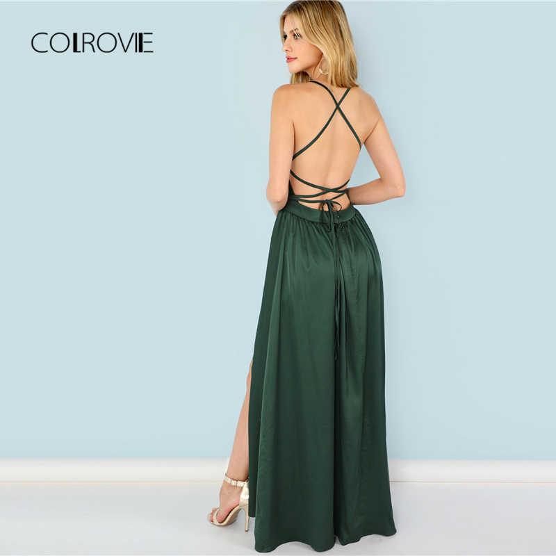 COLROVIE, зеленое, с блестками, с разрезом, v-образный вырез, летнее платье, новинка, высокая талия, открытая спина, макси платье, сексуальное, атласное, женское, вечернее платье