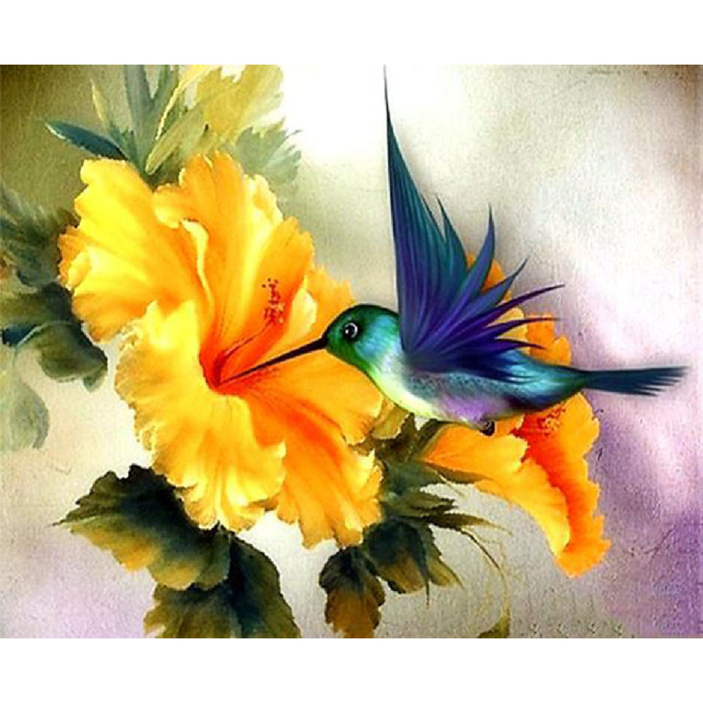 5D DIY Diamond Paintings Full Drill Round Flower and Bird Mosaic Art Embroidery Animals Pattern Handmade Sticker Decoration Home in Diamond Painting Cross Stitch from Home Garden