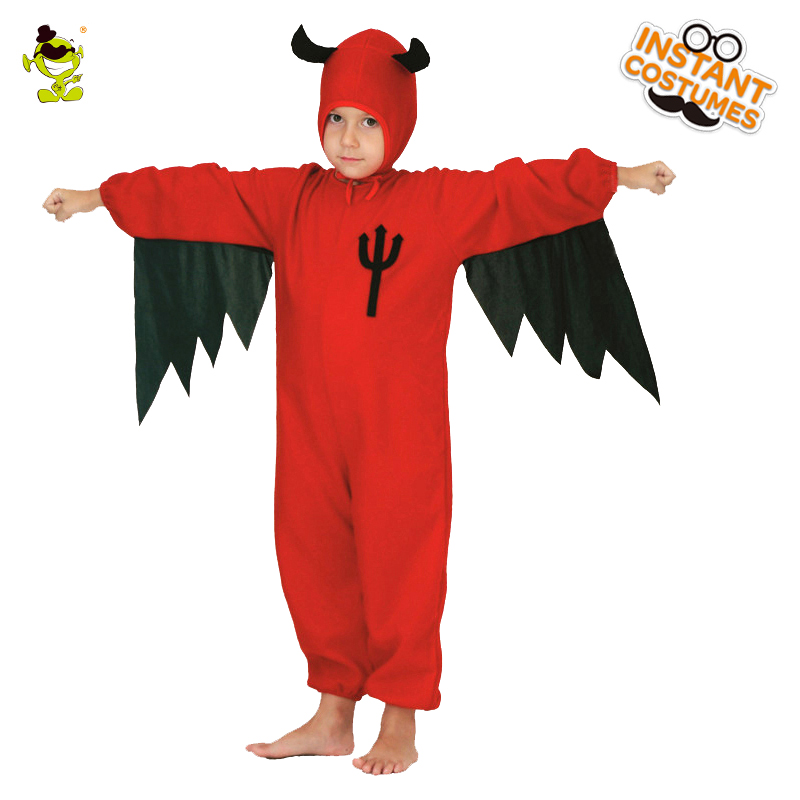 Boys&Girls Red Bat Costumes Children Clever Demon Cosplay Jumpsuit for Halloween Carnival Party Performance