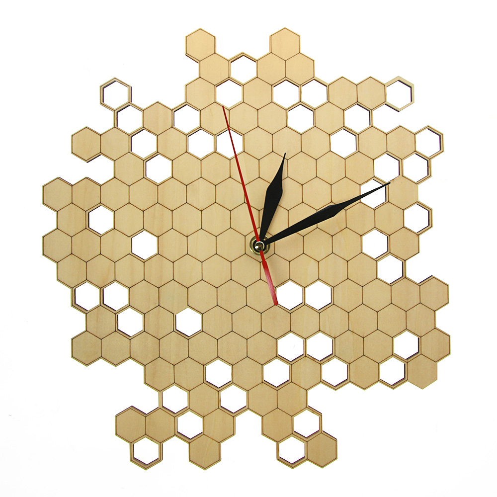 Honeycomb Nature Inspired Wooden Wall Clock Contemporary Style Laser Engraved Hexagonal Clock Wall Watch Bamboo Bee Home Decor