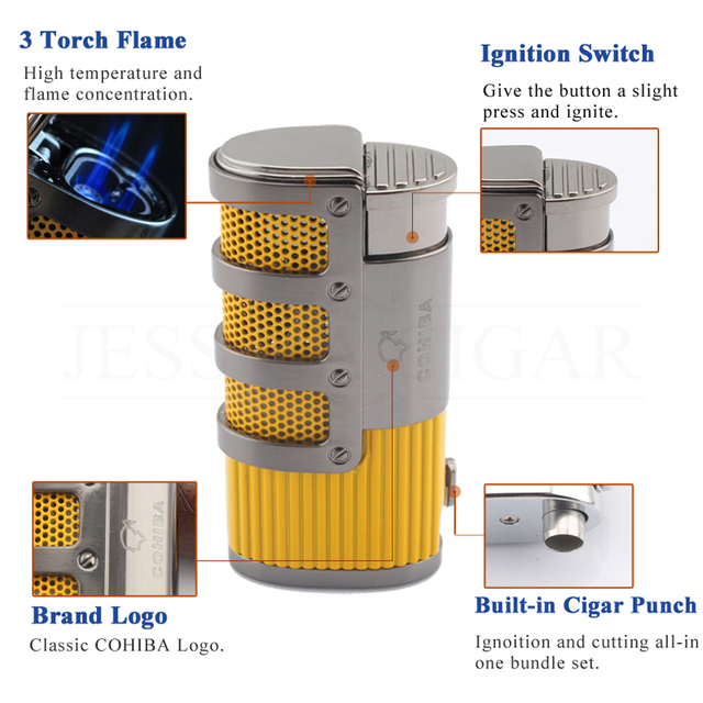 Smoking Windproof Cigar Torch Lighters Refillable Butane Gas Fire Flame Built-in Punch