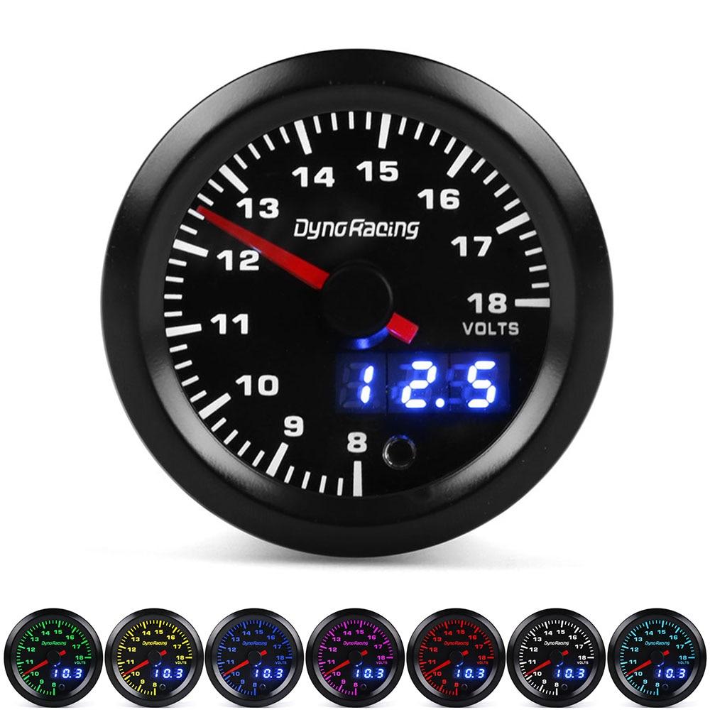Dynoracing Dual Display 52MM 7 Colors Voltmeter Volt Gauge 8-18V Voltage gauge Car meter with stepper motor Car meter