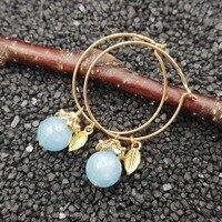 Lii Ji Gemstone Natural Aquamarine 10mm 925 Sterling Silver 18K Gold Plated Leaves Hoop Earrings