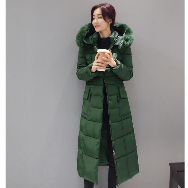 937805e0cfd9 Winter Daunenjacke Mantel 2017 Korea Mode Lange Verdickung Unten Baumwolle  gefütterte Jacke Mit Kapuze Dünne Große