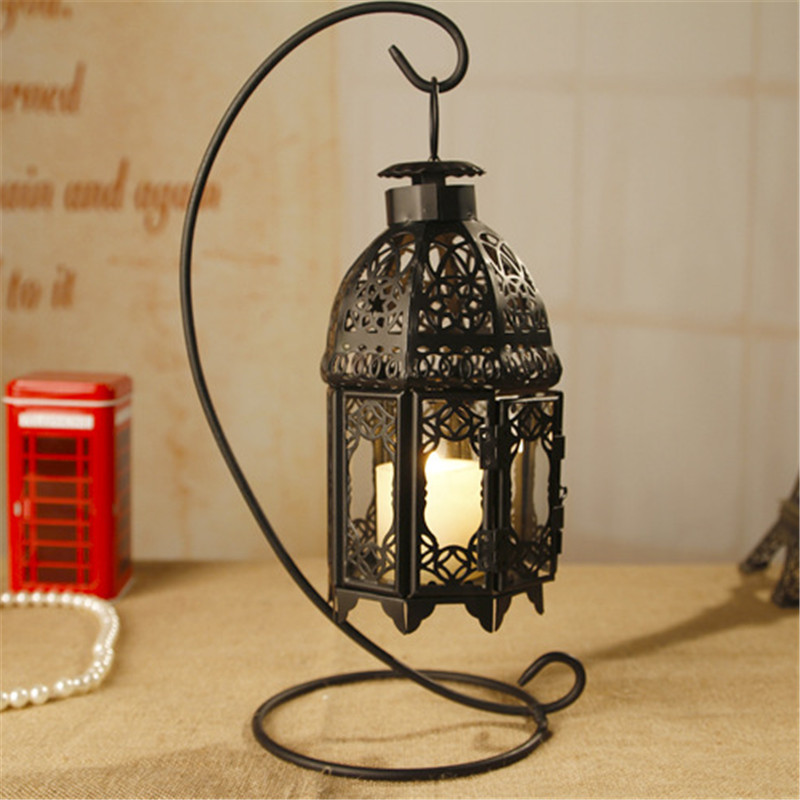Rustic Wooden Tea Light Holder Free Shipping: Free Shipping!Black Color Iron Lantern New Candle Holder