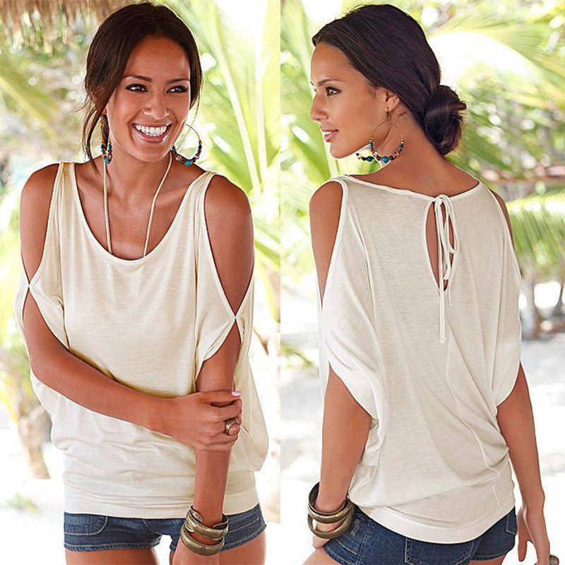 Women Blouses 2019 Summer Casual Sexy Off Shoulder Blouse Shirt Batwing Short Sleeve Lace up Solid
