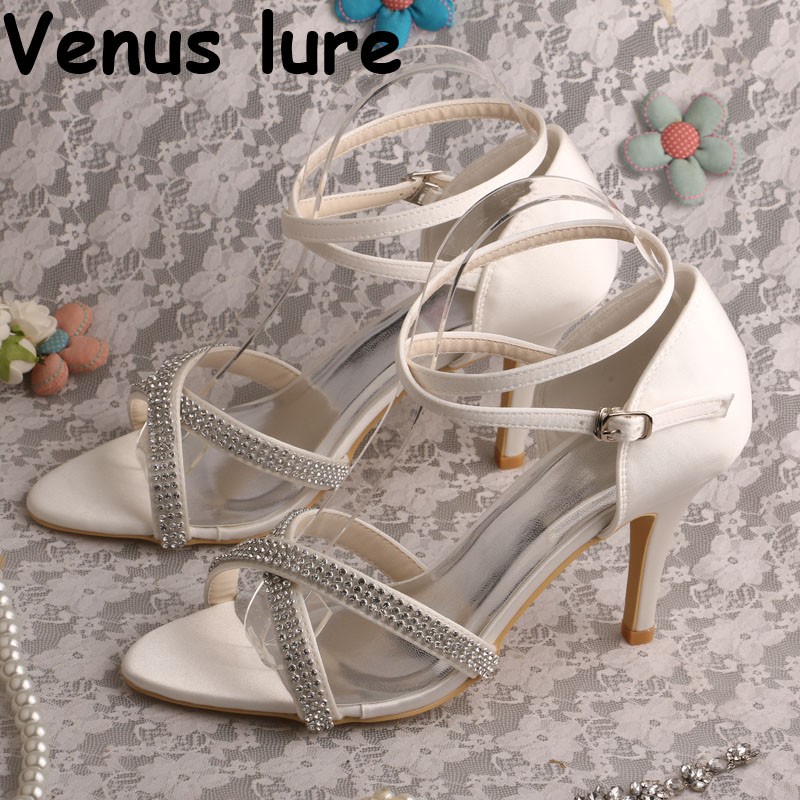 Stylish Crystal Cross Strap Sandals for Wedding Off white Summer Bridal Shoes Sandals