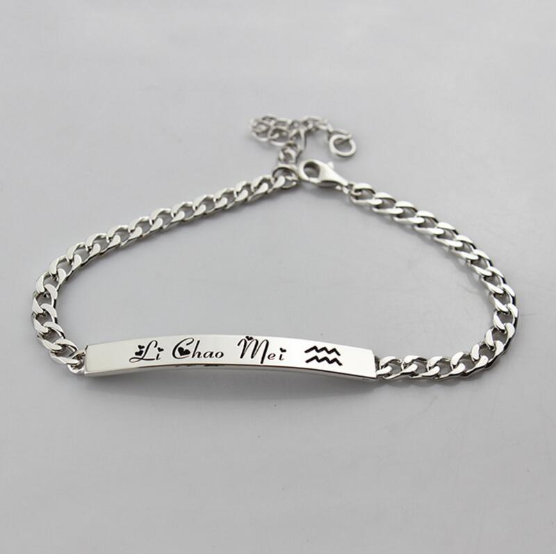 Bracelet personnalisé privé 925 en argent Sterling lettre S925 Bracelet Couple Bracelet saint valentin cadeau