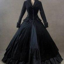 Черный бархат винтажный зимний наряд викторианское платье