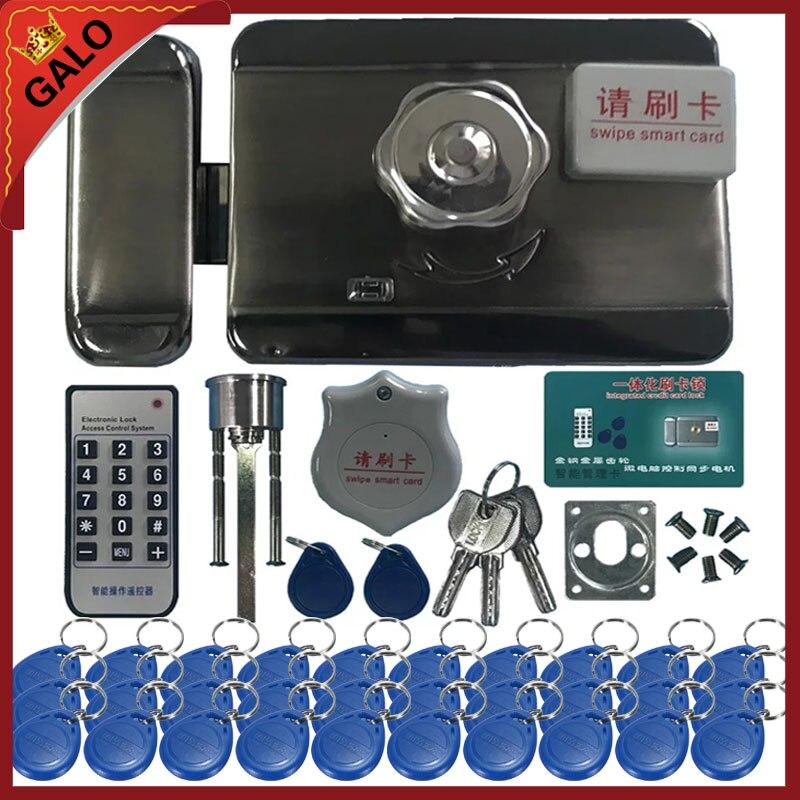 Elektrische lock & tor schloss Access Control system Elektronische integrierte RFID Tür Rim lock mit ID reader 125 khz