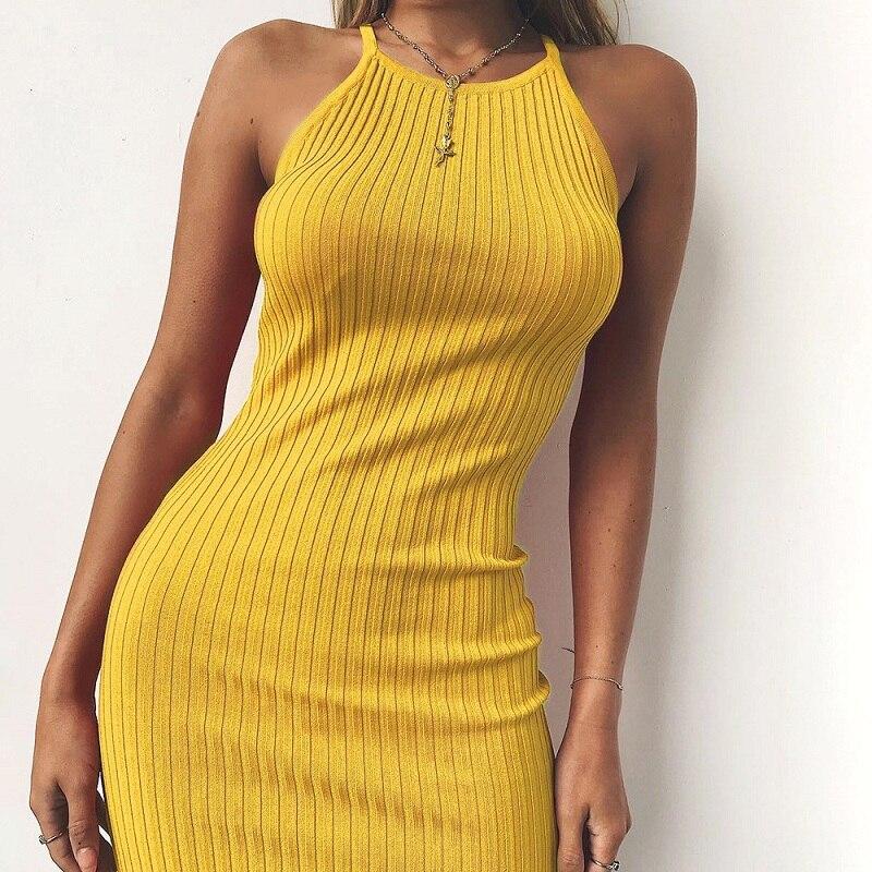 Frauen Sexy Club Backless Spaghetti Strap Sommer Kleid 2018 Baumwolle Damen Elastische Bodycon Schwarz Gelb Party Mini Kleider Vestido