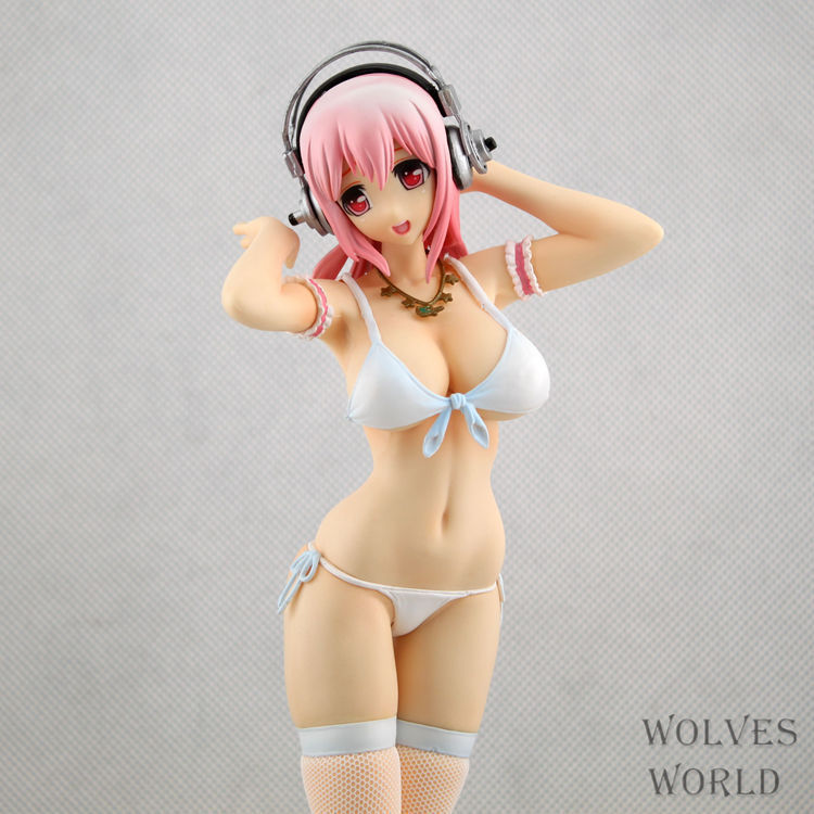 26cm Super Sonico Bikini Stocking Sexy Anime Action Figures PVC brinquedos Collection Figures toys for christmas gift hot sale 26cm anime shanks one piece action figures anime pvc brinquedos collection figures toys with retail box free shipping