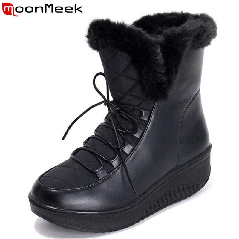 Plus size 35-44 2018 Nuovi Stivali Da Neve piattaforma scarpe delle donne di inverno impermeabile stivaletti lace up stivali di pelliccia bianco nero nero bianco