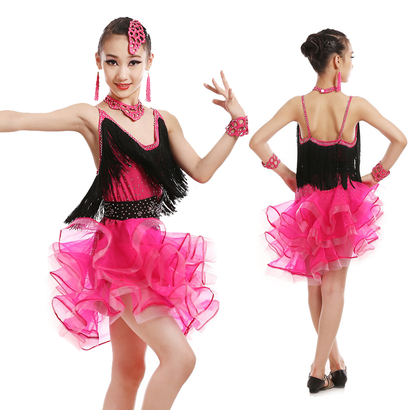 79d5d1f590c3 Professional Children Latin Dance Clothing Girls Tassel Latin Dance Skirt  Costumes Competition Dancewear Dress 4 Colors-in Latin from Novelty &  Special Use ...