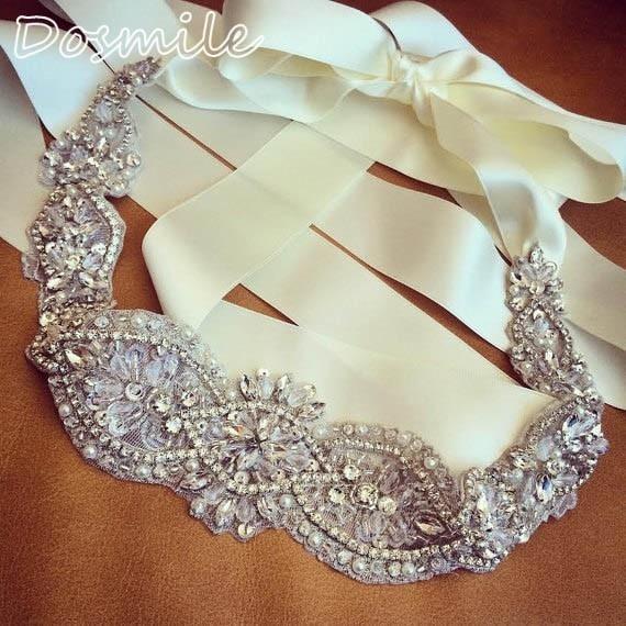2016 Crystals Rhinestones Beaded Applique Bridal Belt Wedding Sash For Bridal Weddidng Dress