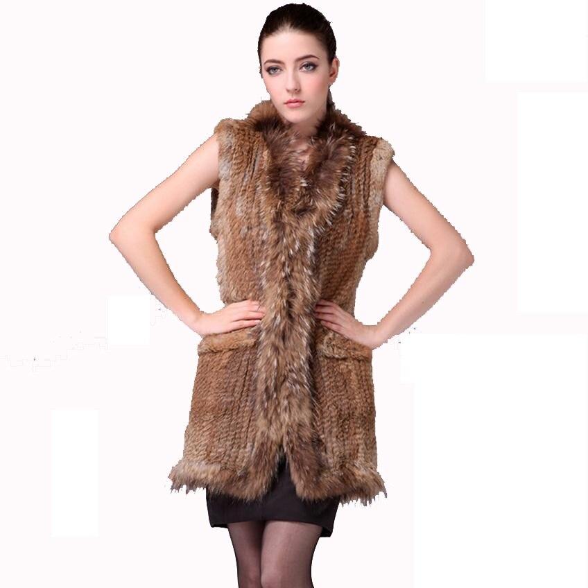 2019 New Women Genuine Real Rabbit Fur Vest Coat  Raccoon Fur Collar Waistcoat Wholesale Drop Shipping