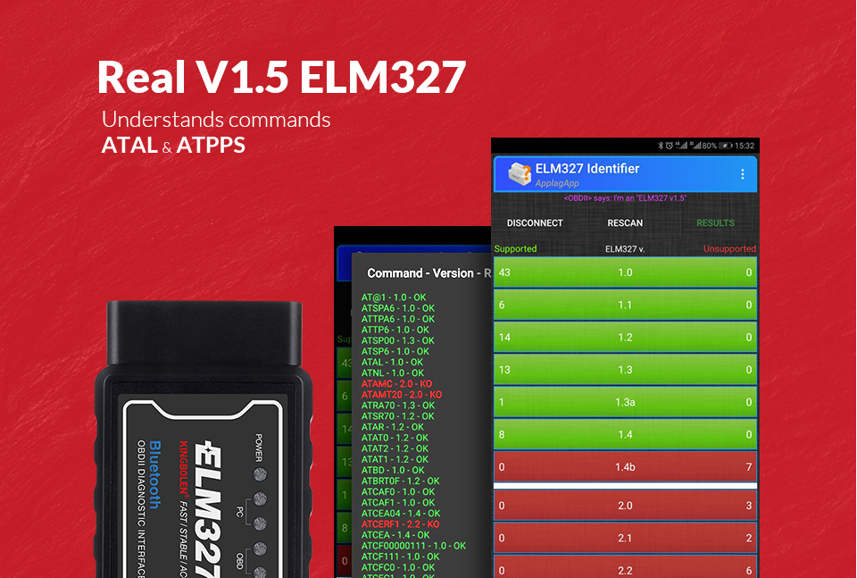ELM327 Wifi Bluetooth V1.5 PIC18F25K80 Chip OBD2 Code Reader ELM 327 V1.5 OBDII Diagnostic Tool for Android/IOS/PC auto scanner