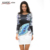Kaigenina nueva moda venta caliente mujeres flor de impresión sencilla natural paño o-cuello de mitad de la pantorrilla de la gasa dress 1181