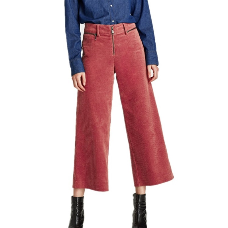 Women's   Pants   High Waist Loose   Wide     Leg     Pants   Women Autumn Winter Corduroy Cropped Trousers Casual Ankle-Length   Pants   Zipper clo