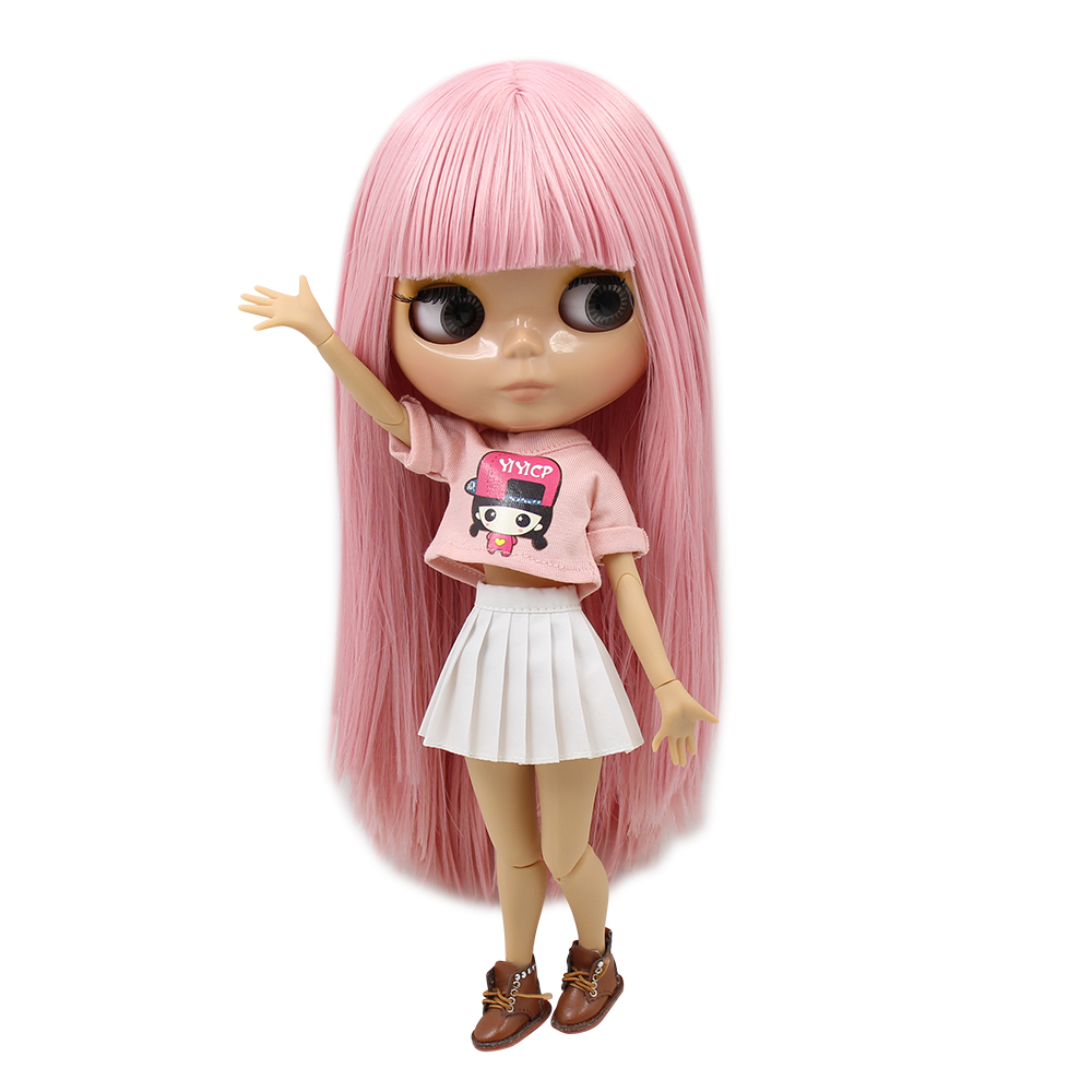 Blyth Joint Body 1 6 Doll pink straight Hair nude TAN Skin With Bangs fringe BJD