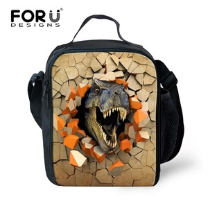 FORUDESIGNS Thermal Spring Tour Portable Insulated Picnic Bags for Boys Children Kids Cooler Bags 3D Animal Printing Lunch Bags