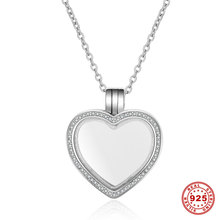 New Arrival 100% 925 Sterling Silver Heart Floating Locket Necklaces Pendants Fit Petite Charms For Women DIY Jewelry Accessory