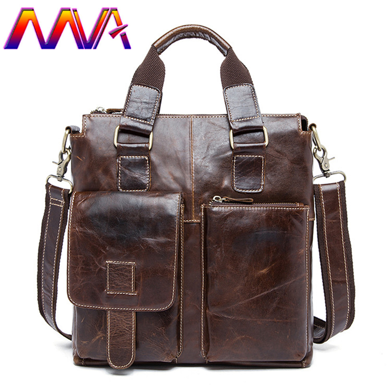 MVA Quality Leather men handbag with 100% genuine leather men shoulder bag for fashion men casual messenger bag men bags