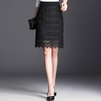 2019 Spring Summer Woman Plus Size Lace Hollow Out Pencil Skirt Korean Style Elastic High Waist Black Bodycon Midi Elegant Skirt