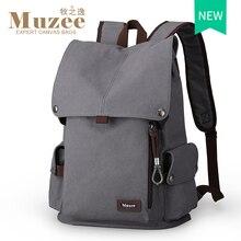 2017 muzee nuevo lienzo macho mochila de viaje de alta capacidad hombres mochila escolar mochila bolsa de ordenador portátil de 15.6 pulgadas mochila