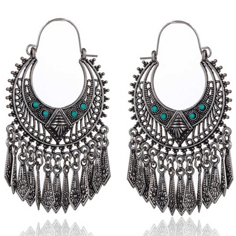 Hot golden silver color metal tassel dangle earrings Oversize pendientes long geometric earrings for women ethnic indian jewelry