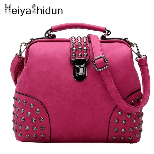 MeiyaShidun Nubuck Leather Women Top-Handle Bags Candy Color female Shoulder Bag Rivet Women Bags luxury handbags designer Totes