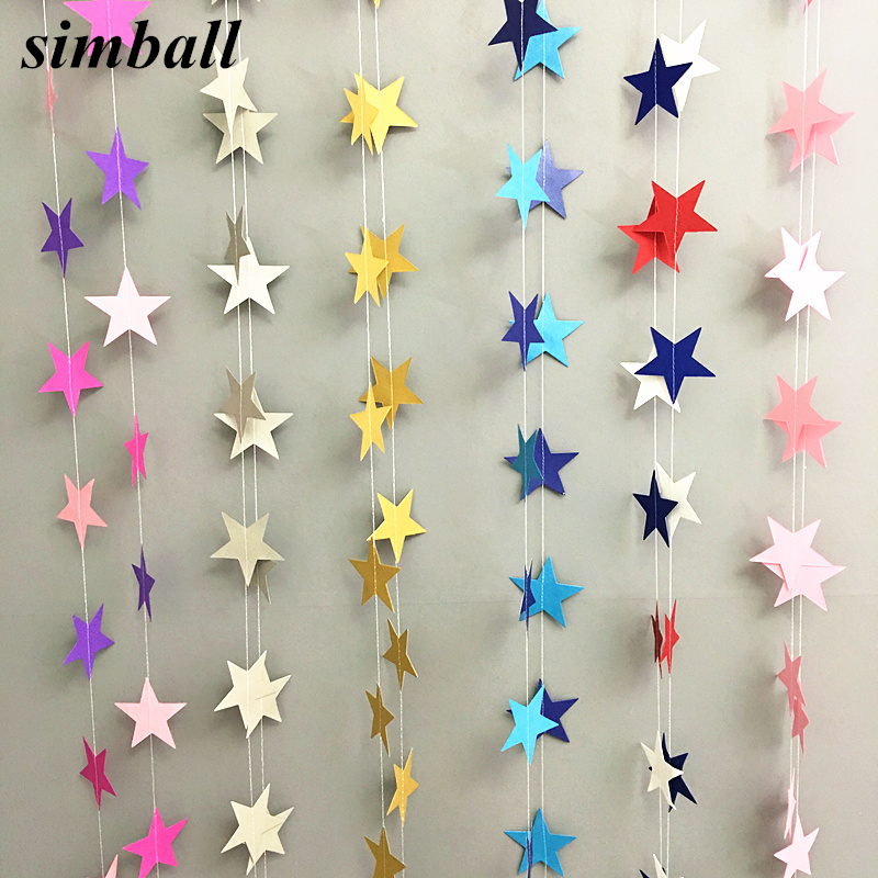 4 м Бумажная гирлянда в форме звезды, баннеры для детского душа, баннеры для девочек, подвесная бумага для украшения дома на день рождения, св...