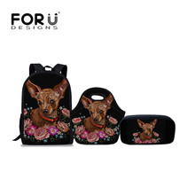 FORUDESIGNS 3Pcs/set Cute Girls School Bags Chihuahua Printed Shoulder Book Backpack Teenager Kawaii Schoolbag Children Rucksack