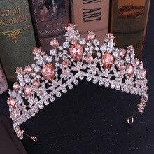 Barroco de corona de novia de cristal de Tiaras Vintage grande de diamantes de imitación diadema, tiara de novia diadema accesorios para el cabello de boda