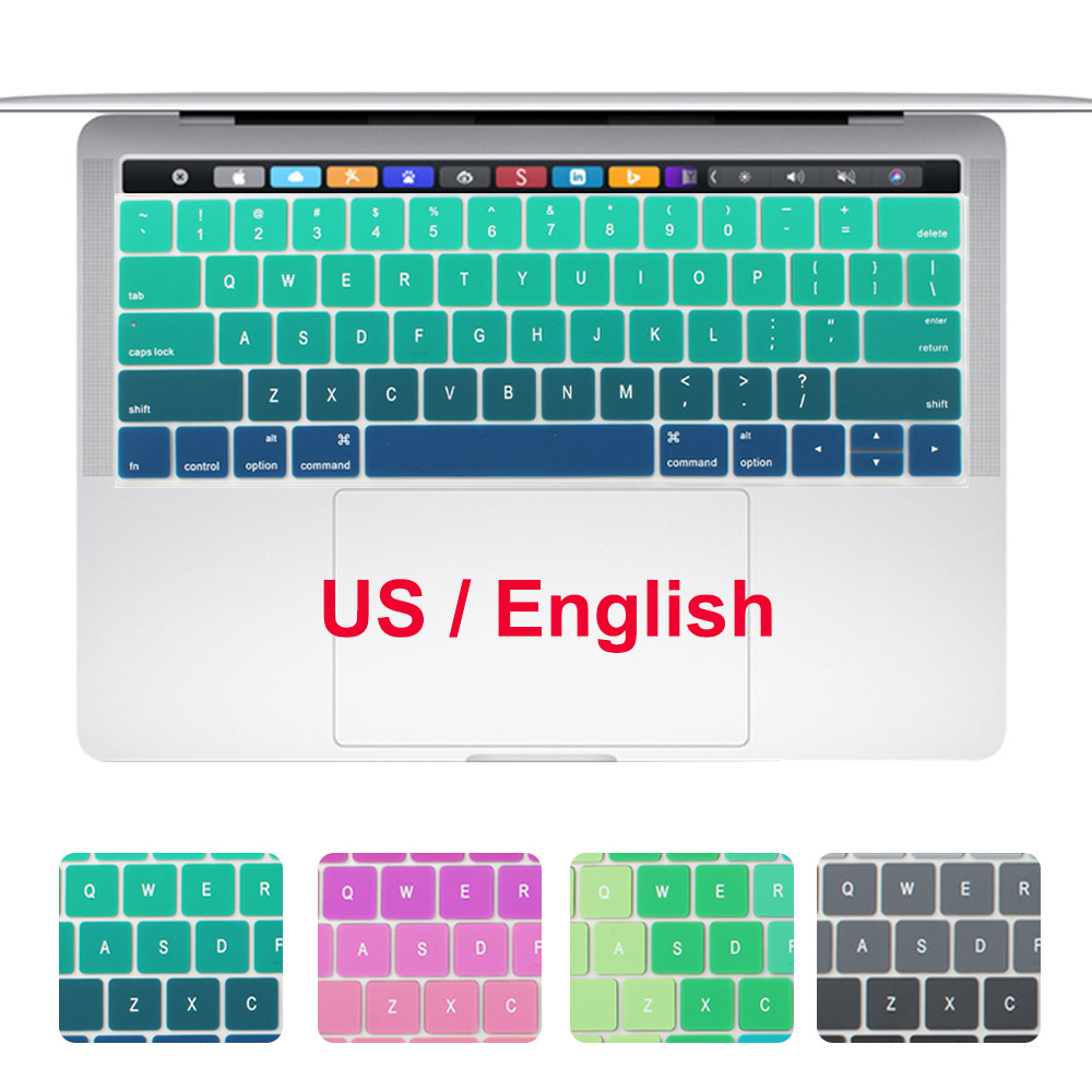 Redlai Silicone US English Gradient Colors Keyboard Cover Stickers Protector for MacBook Pro 13 15 With Touch Bar A1706 A1707
