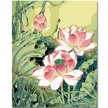 WEEN Pink lotus-Oil painting by numbers Kit For Adults, Hand Painted Canvas Painting,Wall Art Picture,Paint 40x50cm