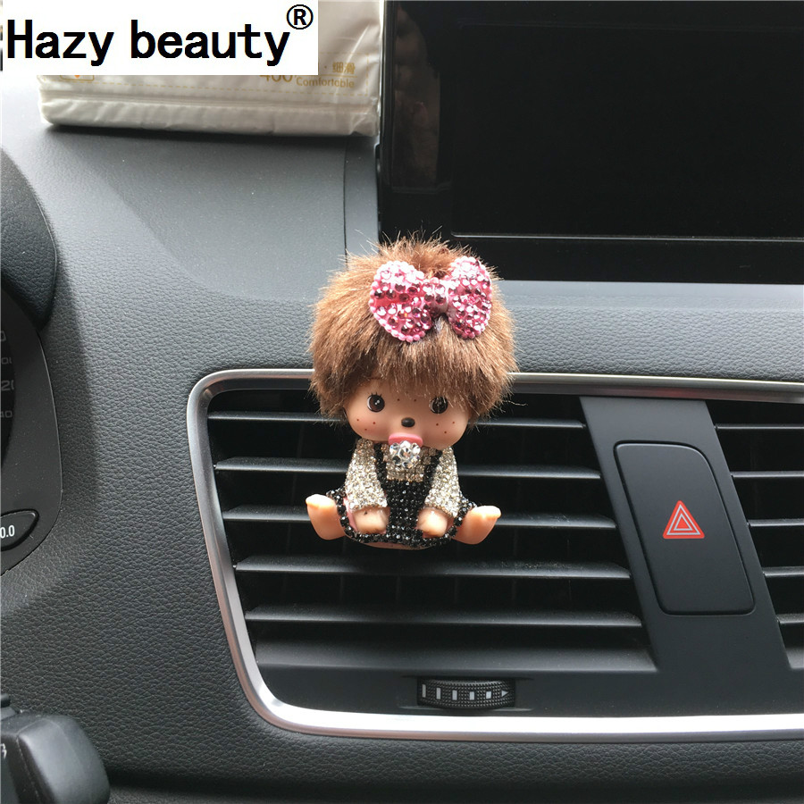 Hazy beauty new pattern Diamond Outlet perfume ma'am Car perfume exquisite Doll ornaments bow Car Air Freshener -styling car outlet perfume air freshener with thermometer white black