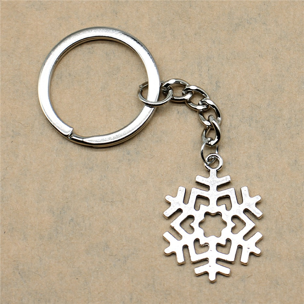Keyring Very Key Snowflake Dropshipping Suppliers Wholesalers 29x22mm Pendant Antique Silver